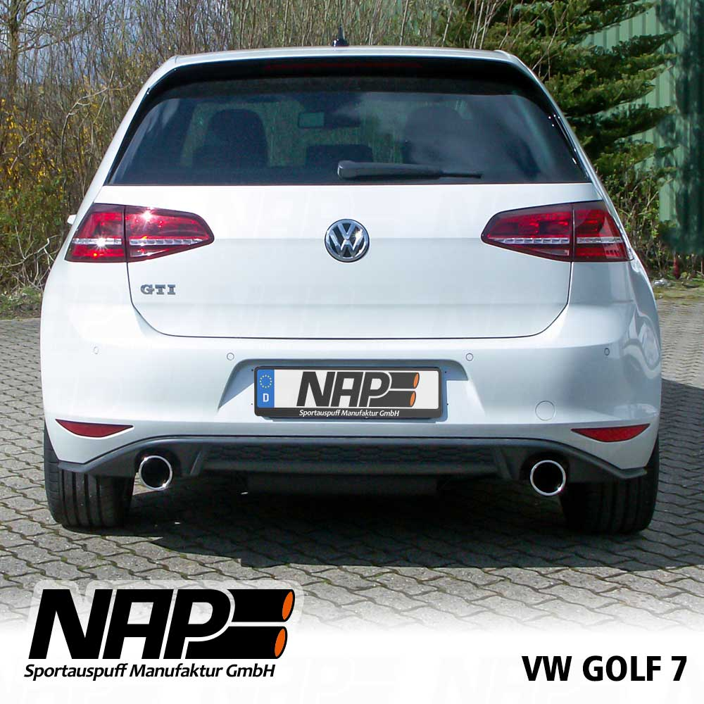 nap heckeinsatz auspuff duplex golf 7 im gti look ebay. Black Bedroom Furniture Sets. Home Design Ideas